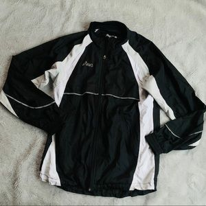 ASICS black and white zip up windbreaker